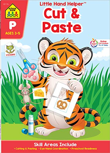 SCHOOL ZONE - Preschool Cut & Paste Workbook, Preschool and Kindergarten, Ages 3 through 5, Fine Motor Skills, Hand-Eye Coordination