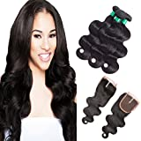 FASHION QUEEN Human Hair Extensions, Brazilian Body Wave 3 Bundles with Lace Closure Middle Part (12 14 16 +12 inch Closure), Tangle Free Natural Color Hair Weave