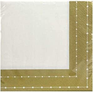 Beaded Collection Beverage Paper Napkin | White/Gold | Pack of 75