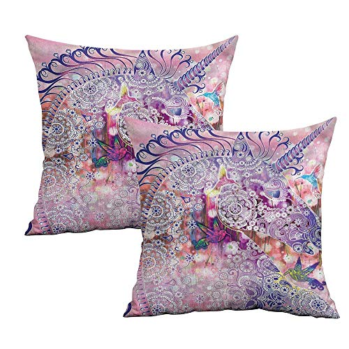Khaki home Unicorn Square Personalized Pillowcase Fantasy Animal Birds Square Kids Pillowcase Cushion Cases Pillowcases for Sofa Bedroom Car W 14