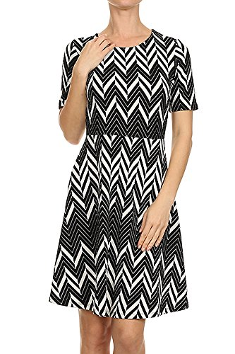 - ReneeC. Women's Scoop Neck A-Line Dress - Zigzag Print Short Sleeves Party Dress
