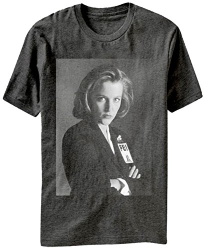 x-files-mens-x-files-scully-badge-graphic-t-shirt-charcoal-heather-large