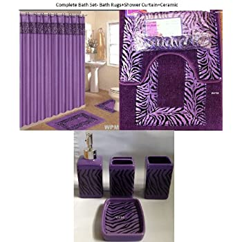 Amazon.com: 19 Piece Bath Accessory Set Purple Zebra Bathroom Rugs ...