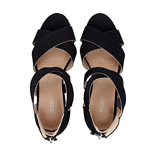 Cox Dames Wedge-sandalette, Strappy Sandaal In Het Zwart Met Wiggen Hak Zwart