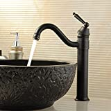 Comfort's Home TA101 Antique Tall Single Handle Vessel Sink Faucet/Brass Single Hole Bathroom Faucet/Lavatory Faucet, Black