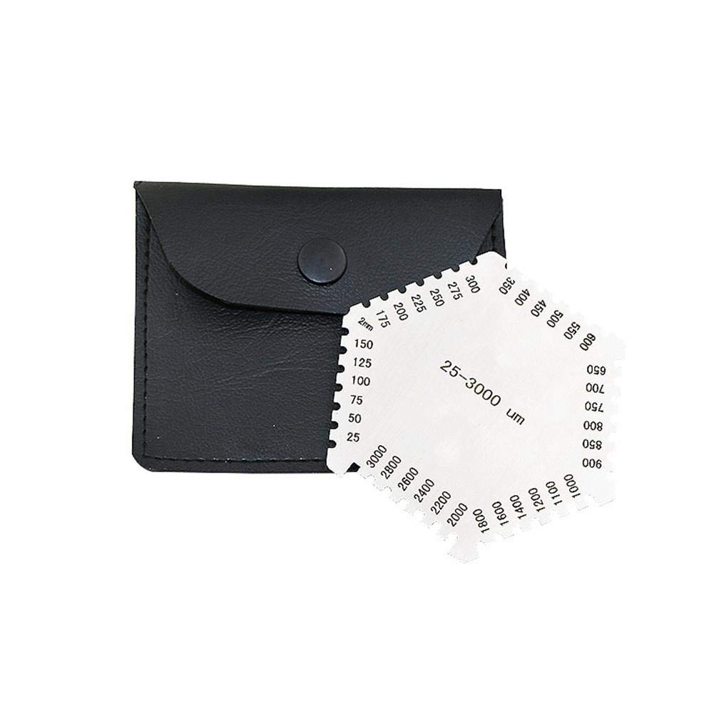 presentimer High-Precision Hexagonal Stainless Steel Wet Film Comb 25-3000um with Black Base for Thickness Gauge Measurement Card parsimonious