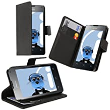 Black Huawei Ascend Y300 Case Durable PU Leather Book Style Wallet Cover with Credit / Business Card Holder and Horizontal Viewing Stand