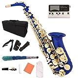 #7: LAGRIMA Blue Lacquer Brass Eb 2 Tone Alto Saxophone Sax w/Tuner Case Carekit Accessories