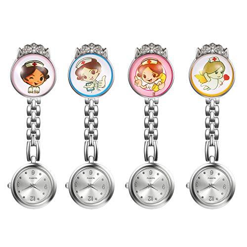 1-4 Pack Nurse Watch for Women and Doctors Clip on Lapel Hanging Nurse Watch Arabic Numerals Dial Quartz Fob Pocket…