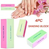 Binmer Nail Art Care Buffer Buffing Sanding Block Files Grit Acrylic Manicure Tool [Professional Salon Use] [Home Use] (9.5X2.5X3.4CM(4 PCS))