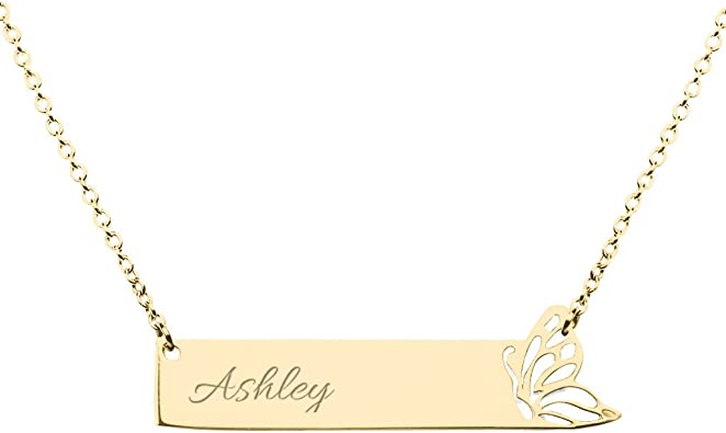 10K Gold Personalized Leaf Stylized Name Bar Pendant by JEWLR