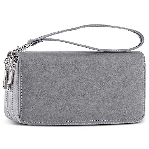 Double Zipper Long Clutch Wallet Cellphone Wallet for Women with Hand Strap for Card, Cash, Coin, Bill