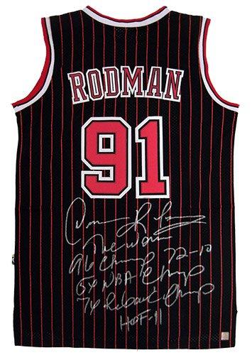 205f1657c1078 Dennis Rodman Signed Official NBA Adidas Chicago Bulls Black ...