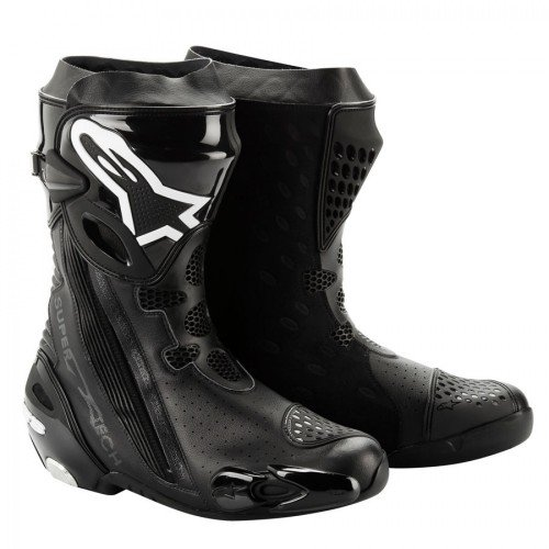 Alpinestars Supertech R Boot with Internal Ankle Brace System (Non-Vented) , Gender: Mens/Unisex, Distinct Name: Black, Primary Color: Black, Size: 9 2220012-10-43