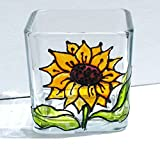 Yellow Sunflower Hand Painted Stained Glass Square Candle Holder, Floral Decor