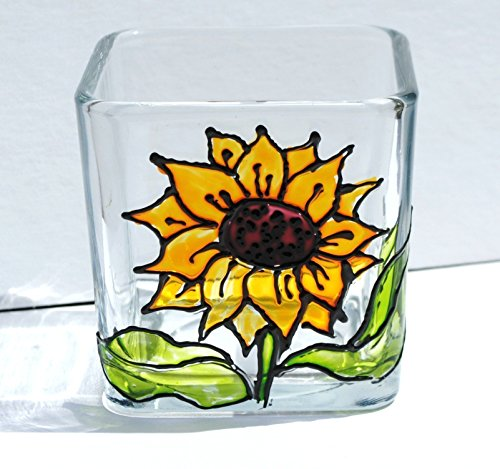 Yellow Sunflower Hand Painted Stained Glass Square Candle Holder, Floral Decor from Atkinson Creations