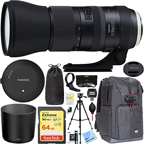 Tamron SP 150-600mm F/5-6.3 Di VC USD G2 Zoom Lens for Canon Mount SLR / DSLR - Includes Tamron Original Tap-In Console, Sandisk 64GB Class 10 SDXC Card and More ()