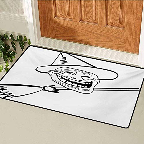 GUUVOR Humor Universal Door mat Halloween Spirit Themed Witch Guy Meme LOL Joy Spooky Avatar Artful Image Print Door mat Floor Decoration W15.7 x L23.6 Inch Black and White -