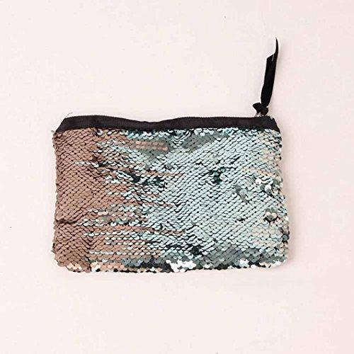 Damen Mode Handtasche Casual Multicolor Farbe Pailletten Handtasche Tasche Change Packets (Gold) Gold