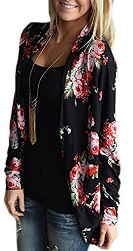 Floral Long Sleeve Cardigan (UGET Womens' Boho Floral Long Sleeve Wrap Kimono Cardigans Casual Cover Up Coat Tops Outwear Asia XL Black)