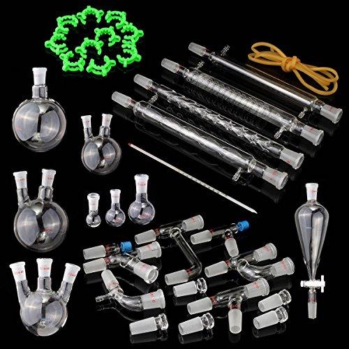 KINGSO 36PCS 24/40 Joint Lab Vacuum Distillation Glassware Apparatus