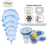 NEWSTYLE Silicone Lids, 6Pcs Silicone Bowl Covers Reusable Blue Stretch Lids, Stretchable Food Saver Dishwasher and Freezer