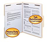 Smead Heavy-Duty Fastener File Folder, 2 Fasteners, 1/3-Cut Tab, Letter Size, Manila, 50 per Box