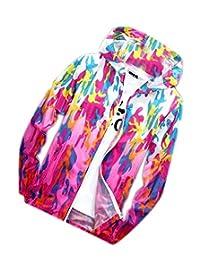 JWK Womens Waterproof Skin Rain Coat Windbeaker Camo Outerwear Jacket