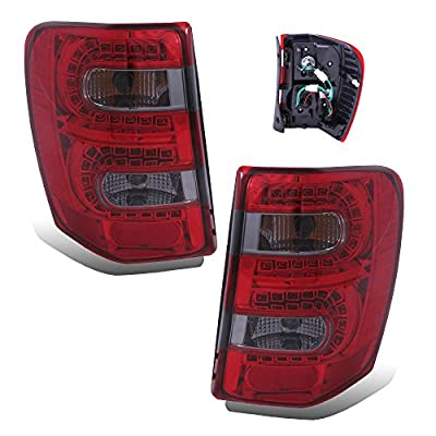 SPPC Red/Clear LED Tail Lights Assembly Set for Jeep Grand Cherokee - (Pair) Driver Left and Passenger Right Side Replacement