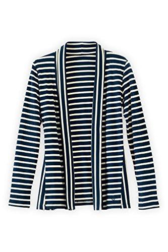 Fair Indigo Fair Trade Organic Interlock Directional Cardigan (M, Dark Ocean/Vanilla - Striped Sweater Cotton