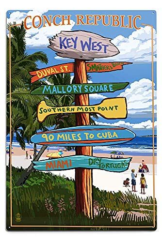 Lilyanaen New Great Key West Florida Conch Republic Destinations Sign Aluminum Wall Sign Wall Decor Ready to Hang for Outdoor & Indoor 12 x 18 in