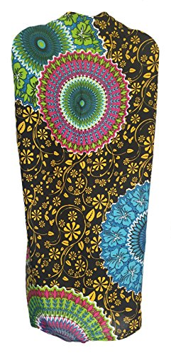 Sarong Wrap From Bali Your Choice of Design Beach Cover Up (Mandala Flower Circles - Circle Design Flower