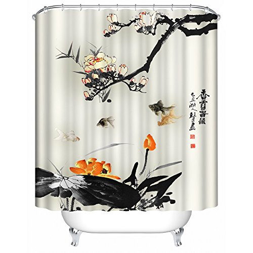 Orange and Black with Koi Shower Curtain. Spa Decor Kin By Nicola, Water Resistant Bathroom Zen Garden Theme Decor View for Magical and Luxurious Bathroom
