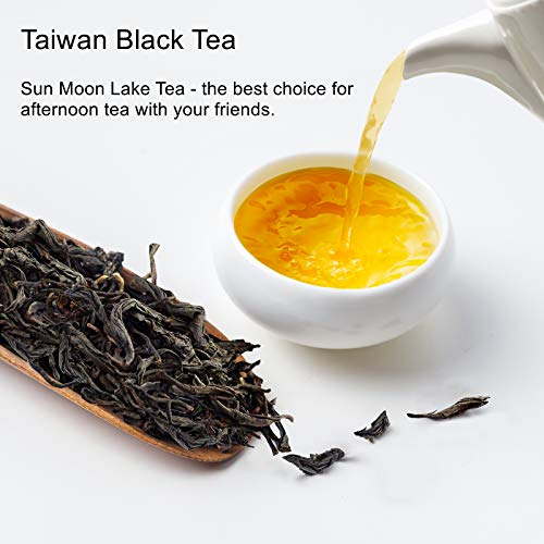 Yan Hou Tang Taiwan Black Tea Loose Leaf Organic Leaves Sun Moon Lake Red Jade Caffeine 75g 30 Servings - Nature High Mountain Unique Honey Flavor Sachet English Breakfast Tea Half Fermented