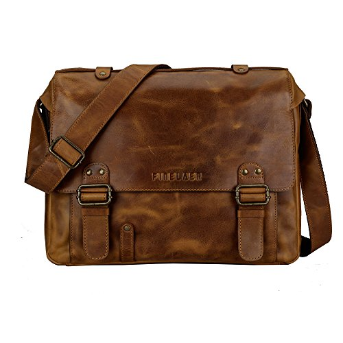 Finelaer Genuine Leather Flap-Over Executive Laptop Messenger Briefcase Shoulder Bag Brown (Flap Over Computer Briefcase)