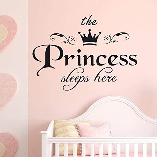 The Princess Sleeps Here Quote Wall Sticker Kid Girl Bedroom Room Decor Decals