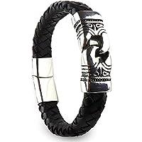 "Zene Z1 Genuine Leather Tribal Bracelet Magnetic Clasp Black Braided Mens Bracelet, 7.28""-8.46"""