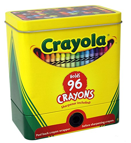 The Tin Box Company 181007-12 Crayola 2-Piece Storage Tin with Sharpener, Crayons Not Included (Tin Case Box)