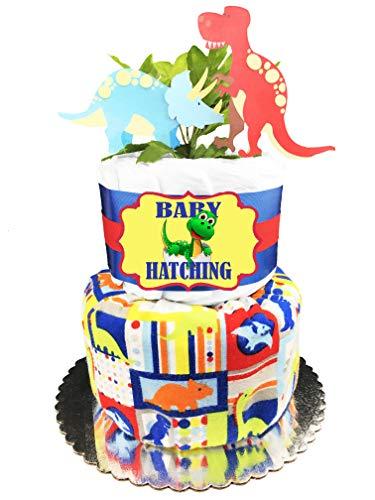 (Dinosaur Diaper Cake - Boy Baby Shower Gift)