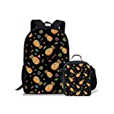 Pineapple Print School Bag Set Teens Boys Girls Backpack with Small Lunch Bag, 2 PCS Set