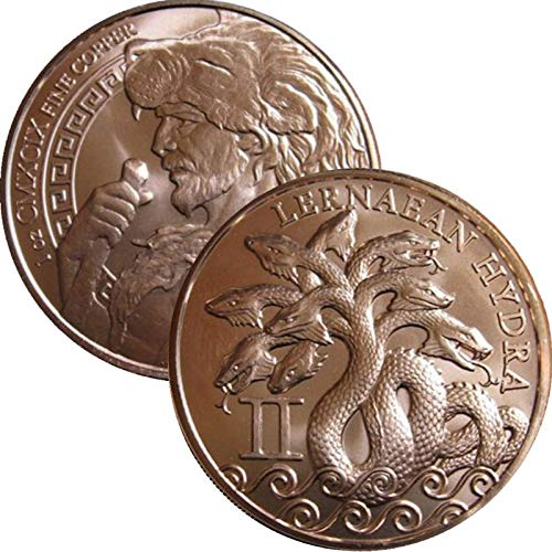 Jig Pro Shop 12 Labors of Hercules Series 1 oz .999 Pure Copper Round//Challenge Coin
