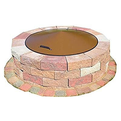 """43"""" Round Metal Fire Pit Campfire Ring Spark Screen Cover Lid"""