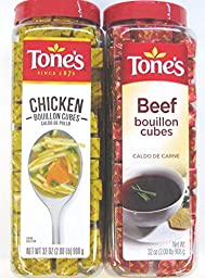 2 Pack: Tone\'s Chicken Bouillon Cubes and Tone\'s Beef Bouillon Cubes Variety Pack, 32 Oz Each, 1 of Each Flavor. (Bundle of 2), 227 Cubes Per Container