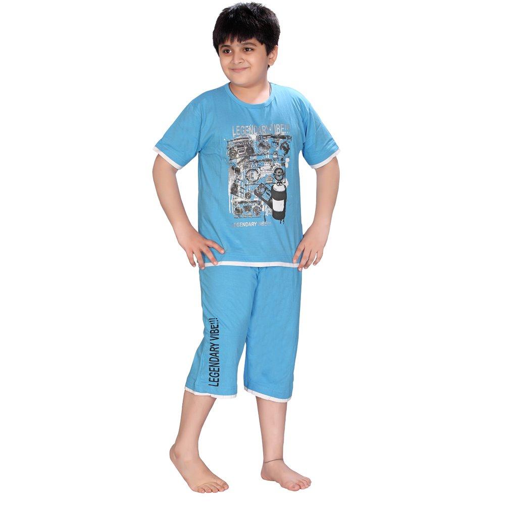Night Dress Boys T-SHIRTS & Capri Pyjama Set: Amazon.in: Clothing ...