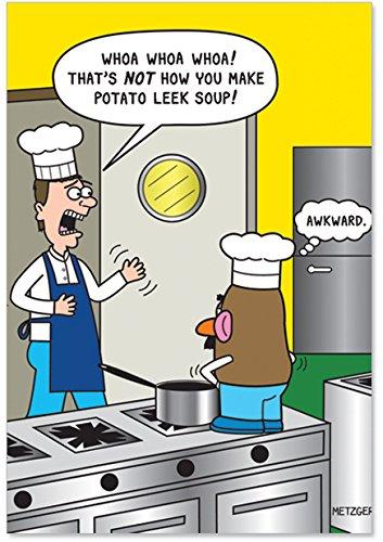NobleWorks Potato Leek Soup Humorous Birthday Paper Card with Envelope 4448