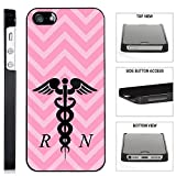 [TeleSkins] - Pink Chevron Rn Nurse - iPhone SE / 5 / 5S Black Plastic Case - Ultra Durable Slim & HARD PLASTIC Protective Vibrant Snap On Designer Back Case / Cover. [Fits iPhone SE / 5 / 5S]