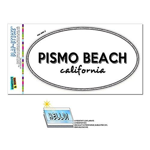 Euro Oval Window Bumper Laminated Sticker California CA City State Pac - Riv - Pismo - Beach Of City Pismo