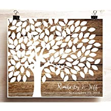 Wedding Guest Book Tree Poster Woodgrain look Wedding Guest Book Alternative for 125 Guests