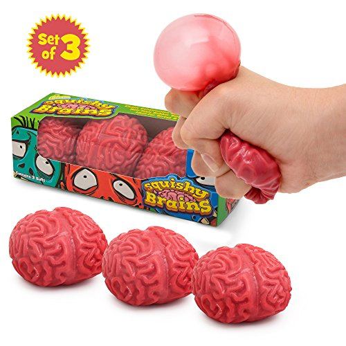 Squishy Brain Fidget Splat Ball by Funky Toys | 3 Pack | Anti Stress | Popping for Adults Children | Anxiety Reducer Sensory Play | Increases Focus Suitable for ADHD & Autism | Fun Toy for Halloween