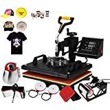 "Happybuy Heat Press Machine 12x15 Inch 360 Degree Swing Away Digital Heat Press 6 IN1Multifunction Sublimation T Shirt Press Mug Cap Plate with 2IN1 Digital Controller (15"" x 12"" 6in1 Swing Away)"